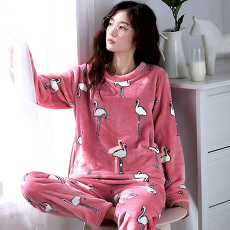 a9393c2755 Women s Pajamas Autumn and Winter Pajamas set Women Long Sleeve Sleepwear  Flannel Warm Lovely Tops +