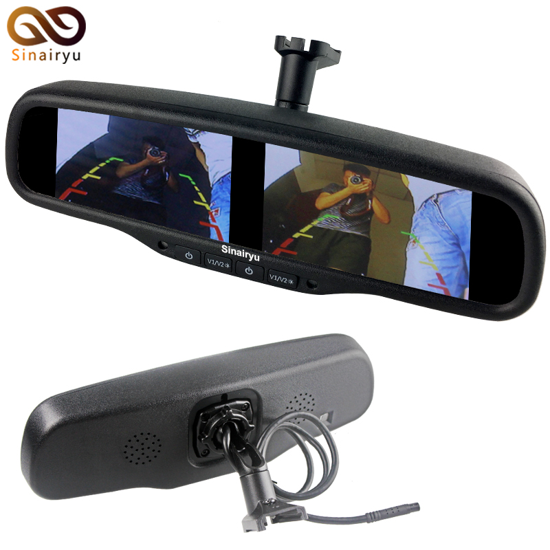 HD 800*480 OEM Mirror Monitor Car Rear View Mirror Built in Dual Two 4.3 TFT LCD Monitors with Special Bracket 4CH Video Input