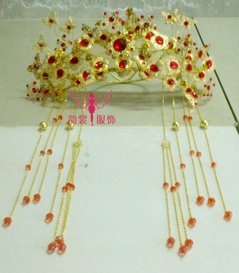 000010 Red Gold Bride Wedding Hair Tiaras Ancient Chinese Empress Hair Piece 00008 red gold bride wedding hair tiaras ancient chinese empress hair piece
