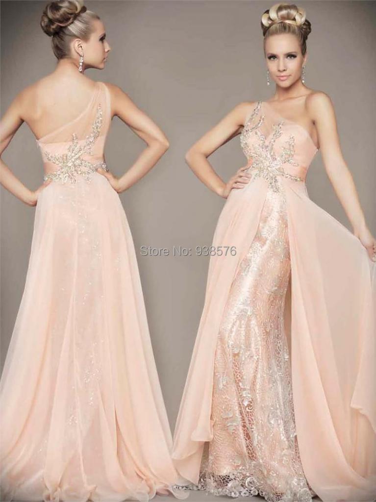Abiti Da Sera New Long One Shoulder Open Back Lace Prom Dresses ...
