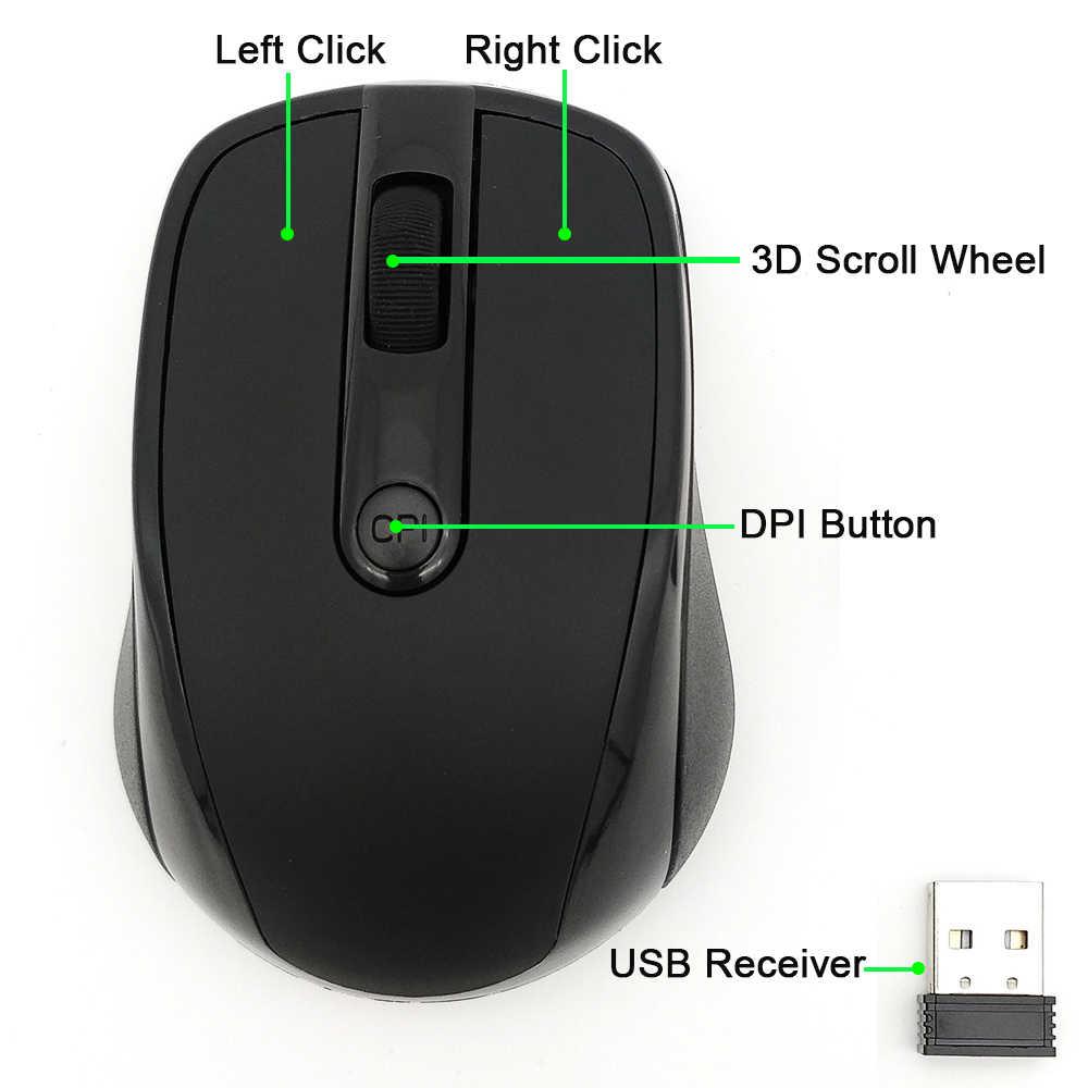 ماوس لاسلكي USB 2000 ديسيبل متوحد الخواص قابل للتعديل استقبال ماوس كمبيوتر بصري 2.4GHz مريح الفئران لأجهزة الكمبيوتر المحمول ماوس