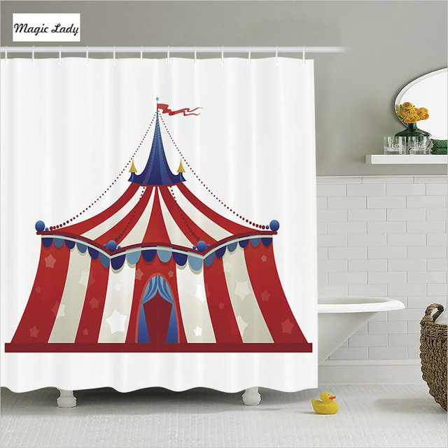 Shower Curtain Lace Bathroom Accessories Circus Marquee Tent Decor Stars Flag Carnival Red White Home
