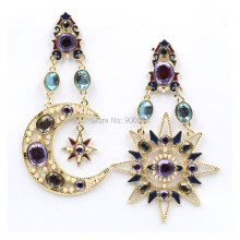 Vintage Style Rhinestone Sun & Moon Long Earrings For Women Brincos Fashion Ethnic Asymmetric Earrings Jewelry Gift  a suit of graceful rhinestone moon necklace and earrings for women