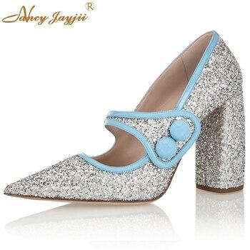 Nancyjayjii Women Silver Glitter Pointed Toe Buckle Strap Pumps Med-High Heels Dress&Office&Casual Shoes Woman, Plus Size 5-14