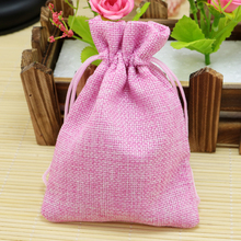 Christmas Wedding Favor Decoration Gift Jute Bags 50pcs lot Pink 13x18cm Jewelry Candy Handmade Packaging Pouches