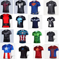 NEW 2016 Marvel Captain America 2 Super Hero lycra compression tights T shirt Men fitness clothing short sleeves 4XL