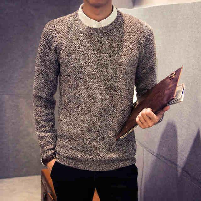 2017 новая мода мужчины свитер осень зима сплошной цвет случайные Вязание шею пуловеры тянуть homme J1538
