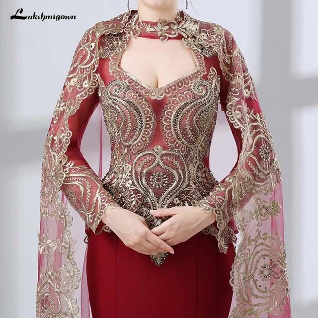 83f638f7ad US $173.55 11% OFF Arabic Mermaid Evening Gowns Women Kaftan Dubai Evening  Dresses Appliques Red Satin Long Sleeve Muslim Evening Dress-in Evening ...