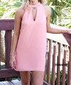 Summer Women Chiffon Dress Ladies' Fashion Sexy Hollow Dress O-Neck Sleeveless One-piece Dress Backless Mini Dress
