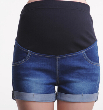 Летние Короткие джинсы для беременных; повседневные шорты для беременных; одежда с регулируемой талией; простые тонкие женские брюки для ухода за животом - Цвет: blue 5