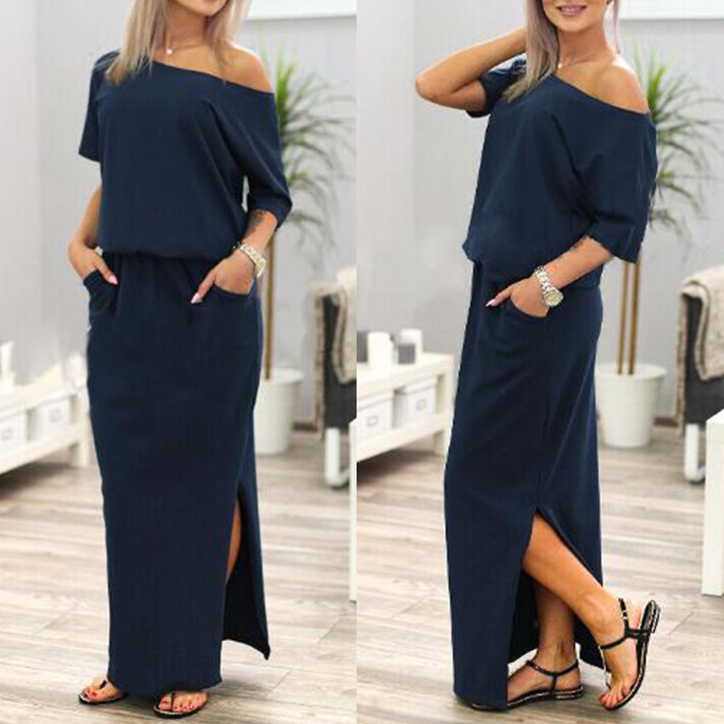 2XL Womens Boho Maxi Dress Short Sleeve Slash Neck Side Split Pocket Female Beach Long Dresses 2020 Summer Party Clothes Ladies