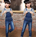 2016 осень детская одежда девушки устанавливает полоса длинный рукав джинсы комбинезоны девушки костюмы для девочек большие дети наряды 2 шт.