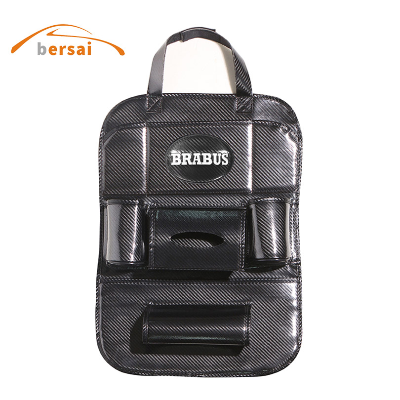 Storage Bag Carbon Fiber Car Seat Back Bag Car styling For BRABUS For Mercedes Benz AMG S400 S500 S600 G65 interior accessories стоимость