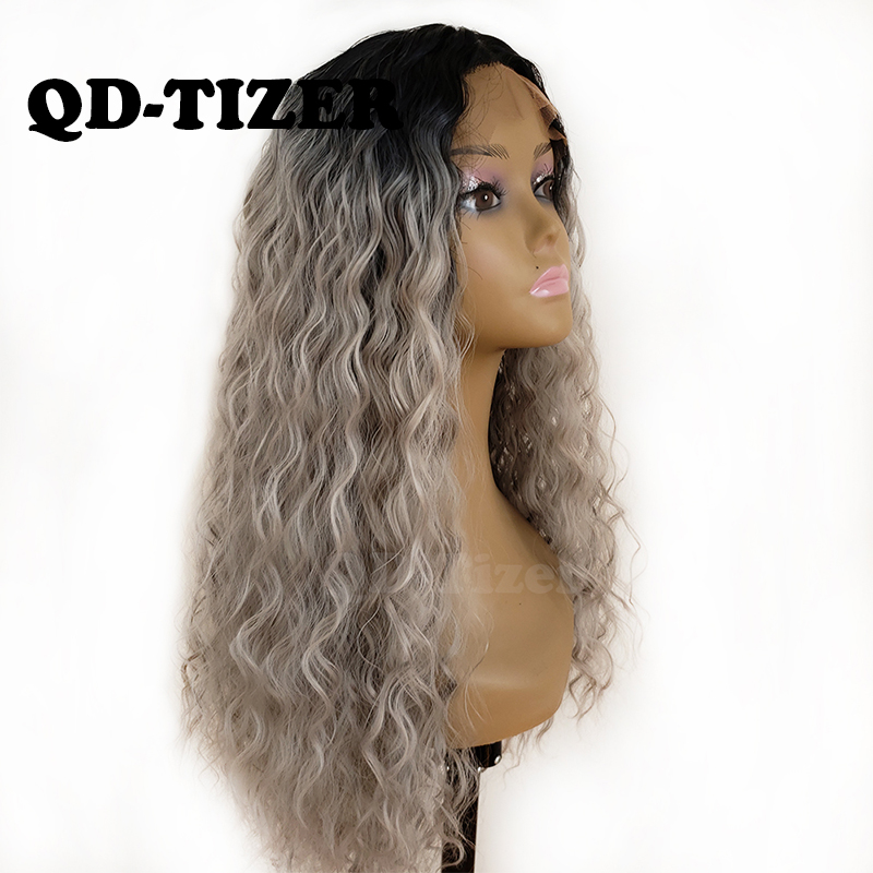 QD Tizer 180 Density Ombre Grey Loose Hair Synthetic Lace Wigs Long Loose Curly Synthetic Lace