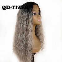 QD-Tizer 180% Density Ombre Grey Loose Hair Synthetic Lace Wigs Long Loose Curly Synthetic Lace Front Wigs for Black Women