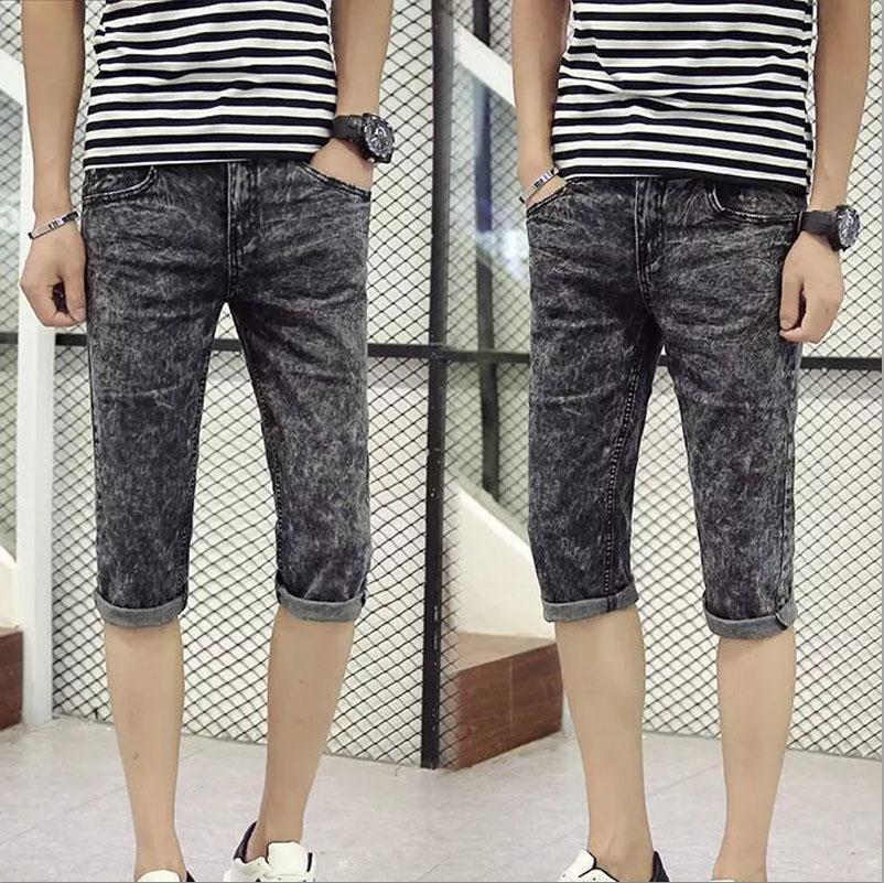 Top quality 2018 Fashion Casual Denim Snow Grey ripped hole Calf length pants teenagers cowboy Slim Capri jeans masculina
