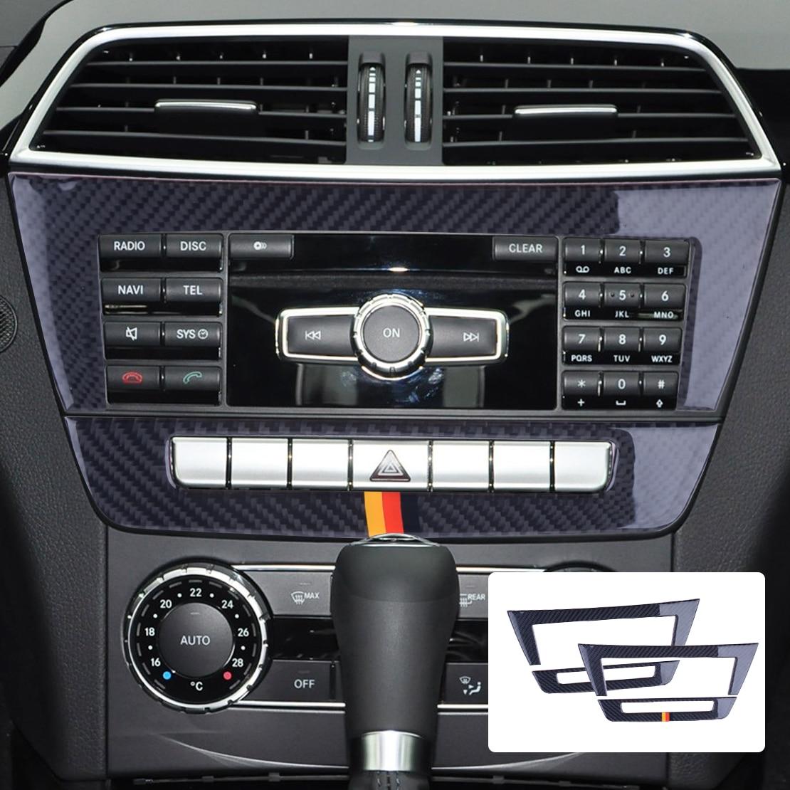 beler 2pcs Car Central Control CD Panels Decor Sticker Cover Trim Frame Decorative Fit For Mercedes Benz W204 2010 2013