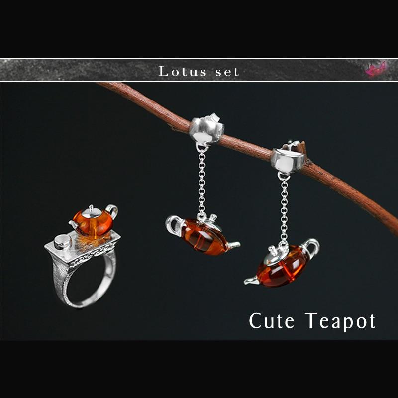 Lotus Fun réel 925 en argent Sterling naturel ambre Original fait à la main bijoux fins mignon théière bijoux ensemble avec anneau Dangle boucle d'oreille