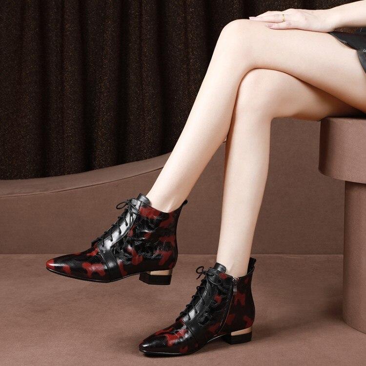 MLJUESE 2019 kobiety kostki buty skóra bydlęca lace up Paisley Totem zimowe ciepłe futrzane buty niski obcas kobiet buty rozmiar 33 43 w Buty do kostki od Buty na AliExpress - 11.11_Double 11Singles' Day 1