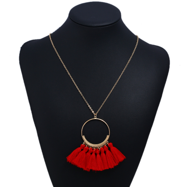 LZHLQ Long Tassel Necklace For Women Vintage Brand Wholesale Necklace Boho Bohemian Necklace Ethnic Vintage Fashion Jewelry