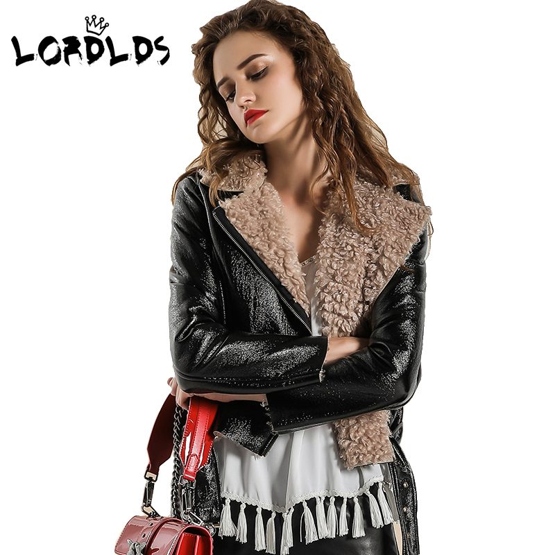 LORDLDS Jacket Coat Short Black Winter Women New PU for Slim-Fur