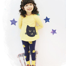 New spring and autumn cotton baby girl cute cat clothing long sleeve t shirts pants infant