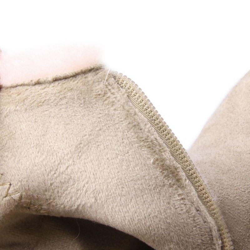Corto 34 Alto Invierno Caliente Zapatos 39 Mujer De Tacón Tamaño Calzado Piel Cuero Botas marfil Negro Frío Genuino Kemekiss Medio aqw8Ypq