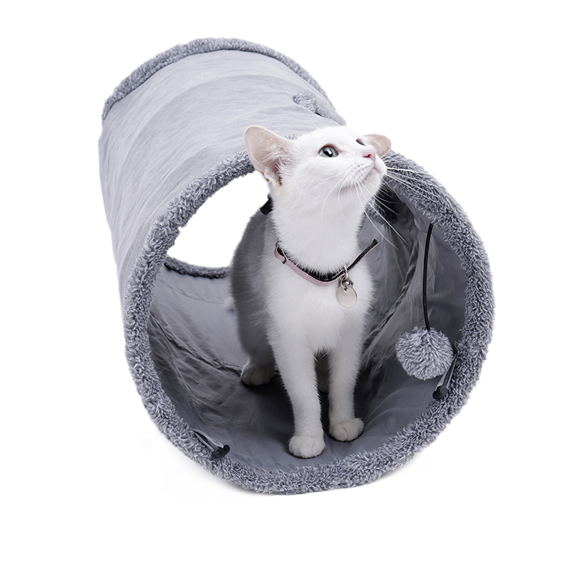 20pcs lot Cats Tunnel Toy with Play Ball Pure Color Suede Material Kitten S M Foldable