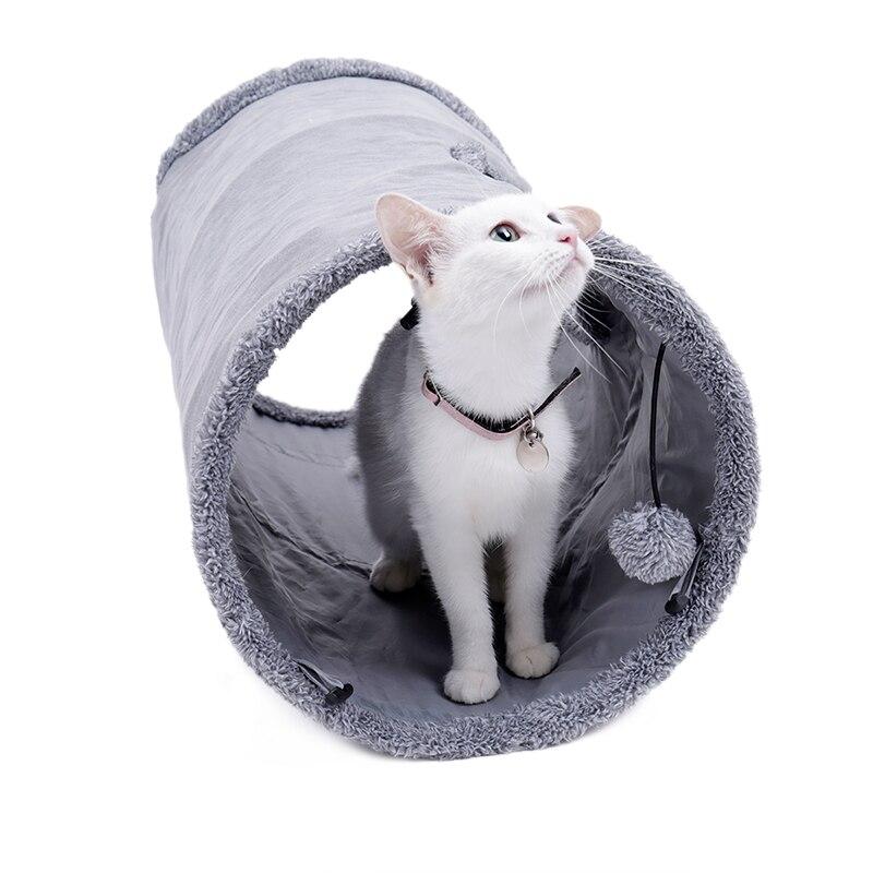 20 개/몫 놀이 공을 가진 고양이 갱도 장난감 순수한 색깔 스웨드 물자 새끼 고양이 s/m foldable 애완 동물 공급 재미 있은 고양이 갱도 강철 구조-에서고양이 장난감부터 홈 & 가든 의  그룹 1