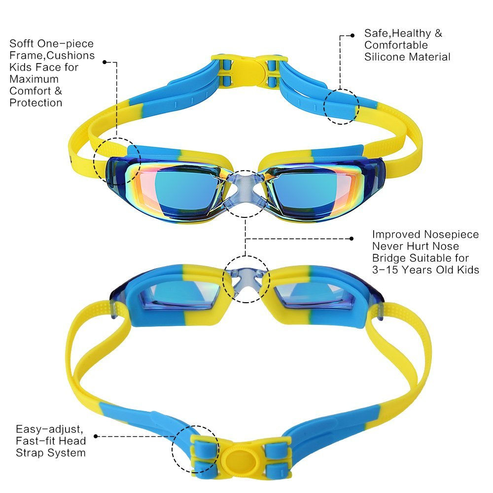 Kids Swimming Anti-Fog UV Protection Prescription Goggles Waterproof Glasses Goggle 7