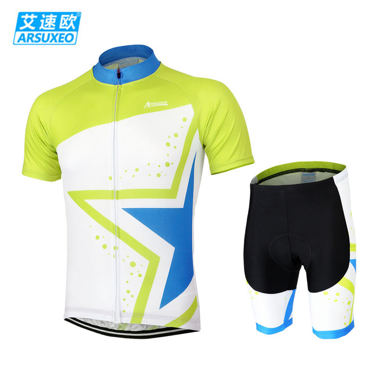 ARSUXEO Men Outdoor Sport Breathable Clothing Set Cycling Bike Bicycle Cycle Long Sleeve Jersey & 3D Coolmax Padded Shorts Suits teleyi men cycling jersey bike long sleeve outdoor bike jersey bicycle clothing wear breathable padded bib pants set s 4xl