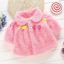 Мода сгущает руно кот розовый зимние детские пальто ребенка пончо куртка зимняя женская