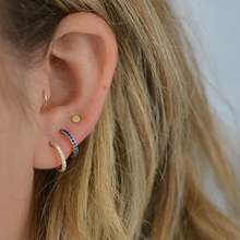 d189156b8 Tiny gold color half circle earrings with cz paved women girl beautiful  earring Valentine's Day earing gift for girlfriend