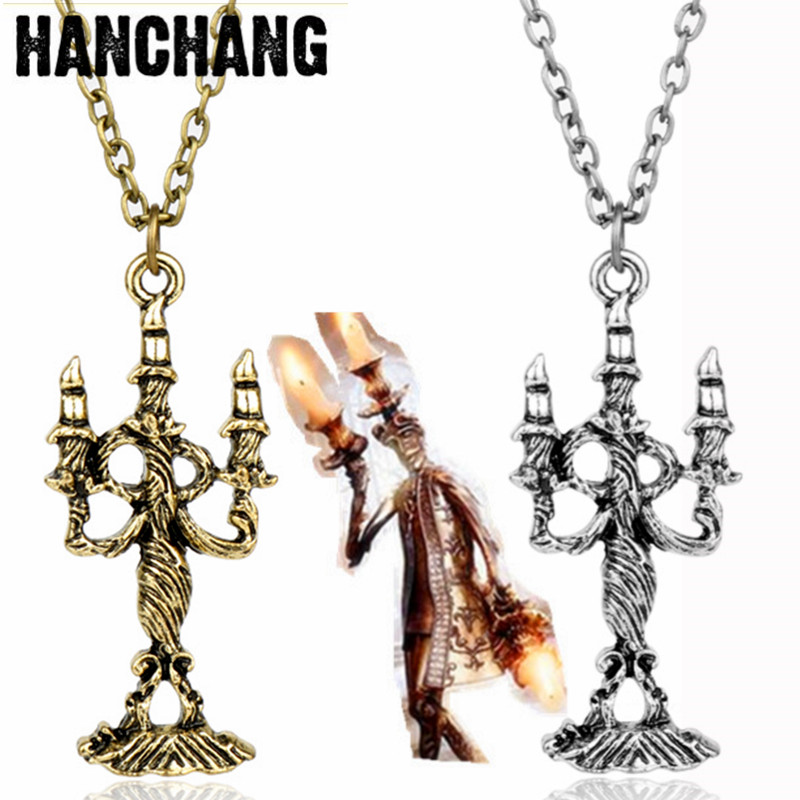 Drop Shipping Movie Beauty Beast Necklace Vintage Magic Burning Candle Pendant Baeuty And The Beast Funny Necklace Jewelry