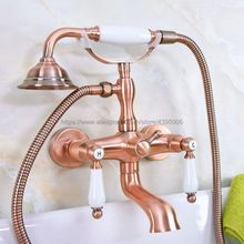 цены Antique Red Copper Wall Mount Telephone Style Bath Tub Faucet Mixer Tap With Handheld Spray Shower Bna326
