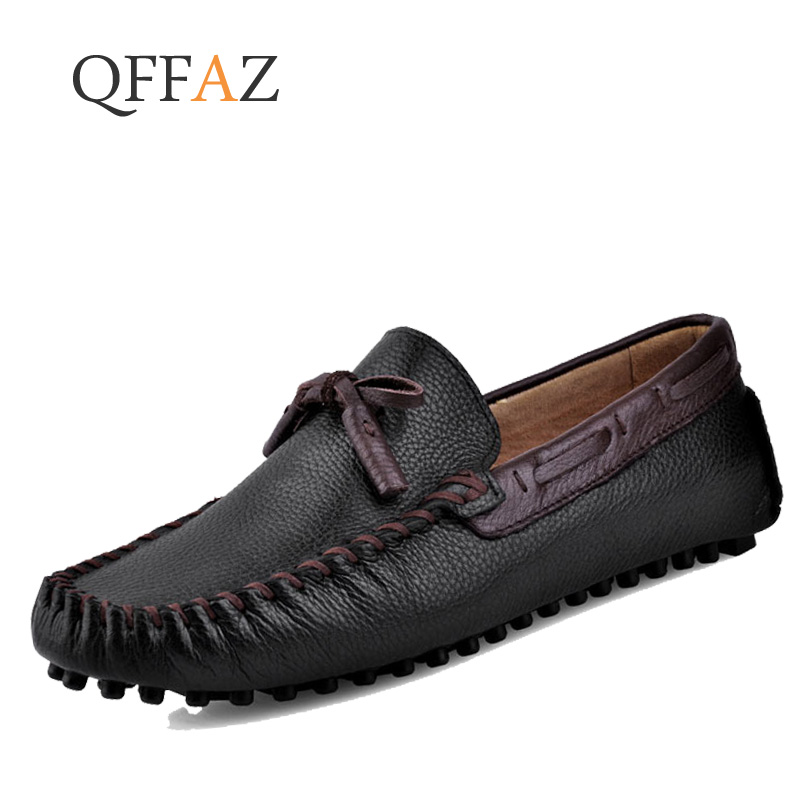 QFFAZ Men Casual shoes Genuine Leather Black Solid Leather Driving Moccasins Gommino Slip on Men Loafers