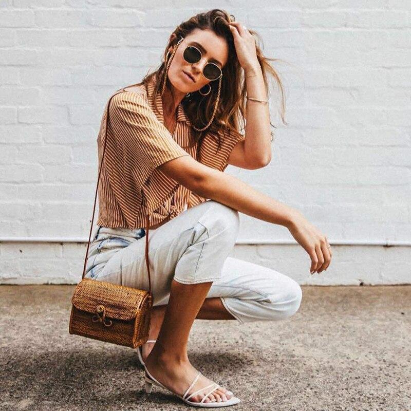 Summer Travel Beach Bag 2018 New Temperament Straw Bag Bow Buckle Lady Rattan Bag Female Literary Retro Shoulder Messenger Bag