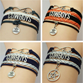 Multilayer Football Leather Suede Bracelets Bangle Gift Infinity Love Dallas Cowboys Team Handmade Bracelets