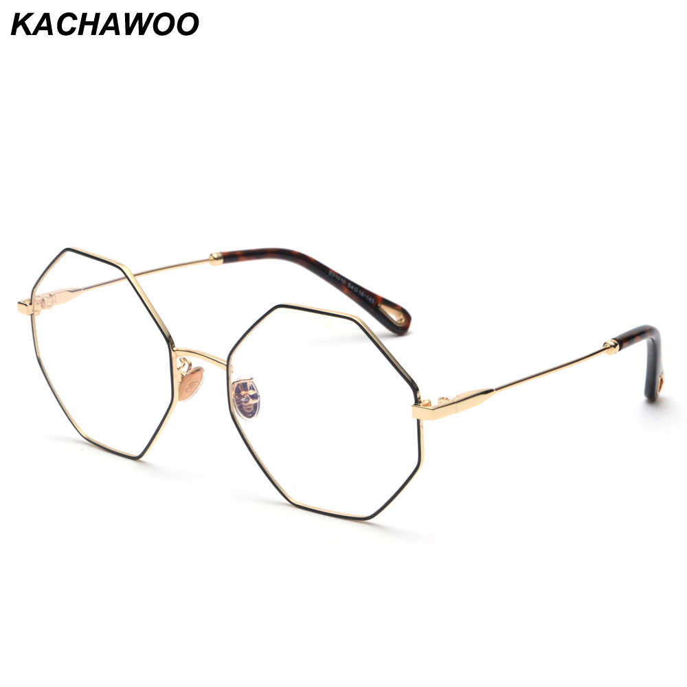 7bb0310501ab Kachwoo fashion optical eyeglasses frame women computer polygon big vintage octagonal  glasses frames for men gold