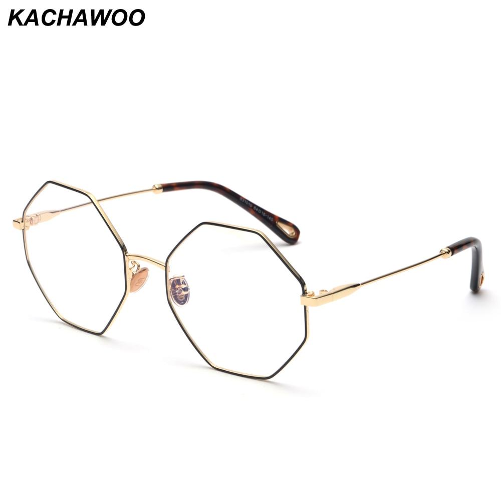 196da62d3be Kachwoo fashion optical eyeglasses frame women computer polygon big vintage  octagonal glasses frames for men gold metal