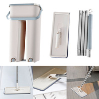 Mop Bucket System for Floor Cleaning 2 in 1 Wash Dry with Washable Flat Fiber Mop Pads LBShipping
