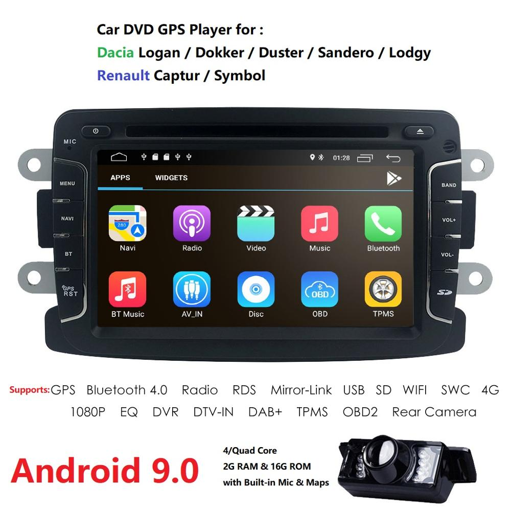 Android 9.0 7 Inch 1 Din IPS Car DVD Player For RENAULT DUSTER LOGAN LADA XRAY SYMBOL DACIA Kaptur DOKKER SWC DSP RDS DAB+ OBD2