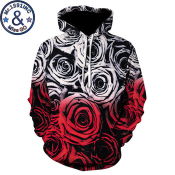 Lover Rose Floral Hoodie Sweatshirt Men Women Fashion 3D Flower Print Hoodies Sweatshirts Men Hip Hop Hoody Hooded Pullovers 5XL