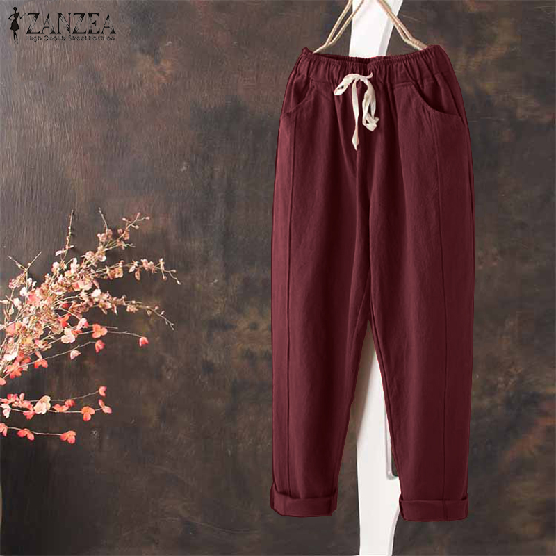 2018 ZANZEA Plus Size Women Pants Casual Elastic Waist Harem Pants Cotton Linen Long Trousers Baggy Pockets Pantalon Streetwear