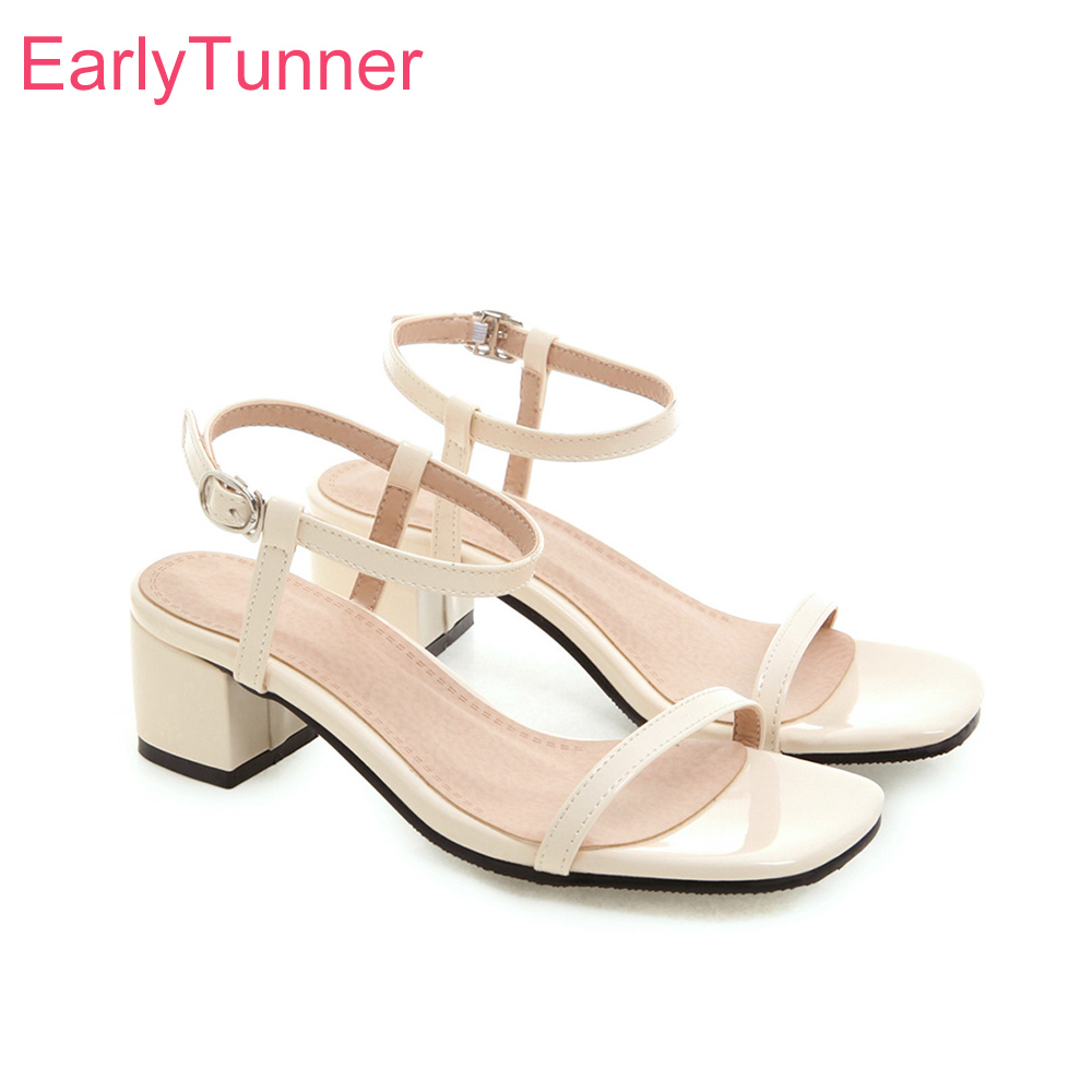 2019 Brand New Casual Beige Black Women Sandals 2 Inches Heels Lady Slingback Shoes EH221 Plus Big Small Size 3 <font><b>10</b></font> <font><b>30</b></font> 43 45 <font><b>52</b></font> image