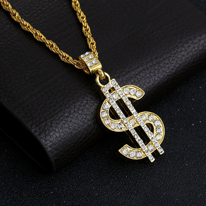2017 Limited Promotion Crystal Round Kolye Chrysocolla Collares Color Hip Hop Bling Dollar Sign Chain With Pendant Necklace(China)