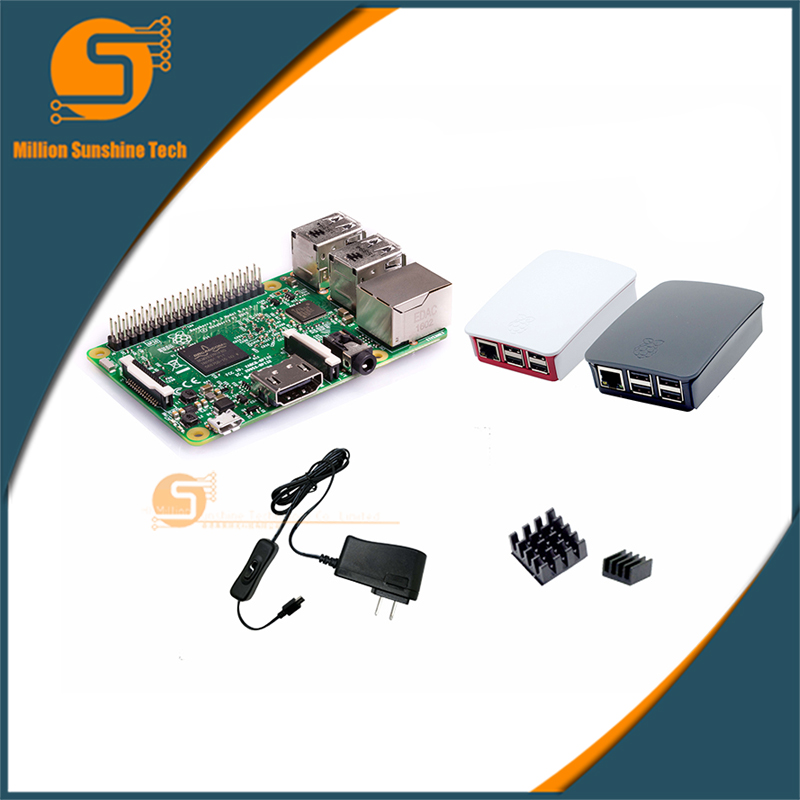 Raspberry Pi 3 Starter Kit C with Raspberry Pi 3 Model B + original pi 3 case + Heatsinks +Power Supply raspberry pi 3 model b starter kit pi 3 board pi 3 case eu power plug with logo heatsinks pi3 b pi 3b with wifi bluetooth