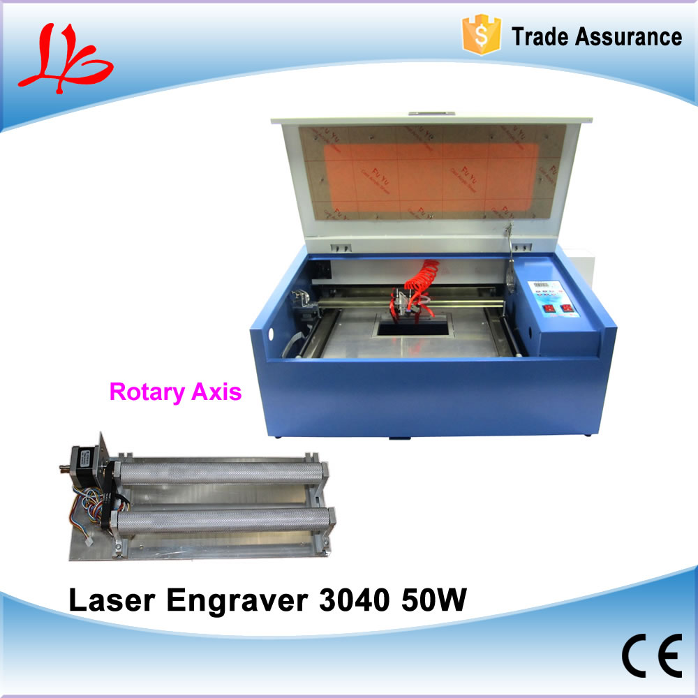 50W CNC 3040 CO2 laser cutting machine with Rotary Axis for PCB, Wood, Cylinder Engraving, no tax to Russia diy cnc machine 2520 base frame kit for wood router engraving no tax to russia