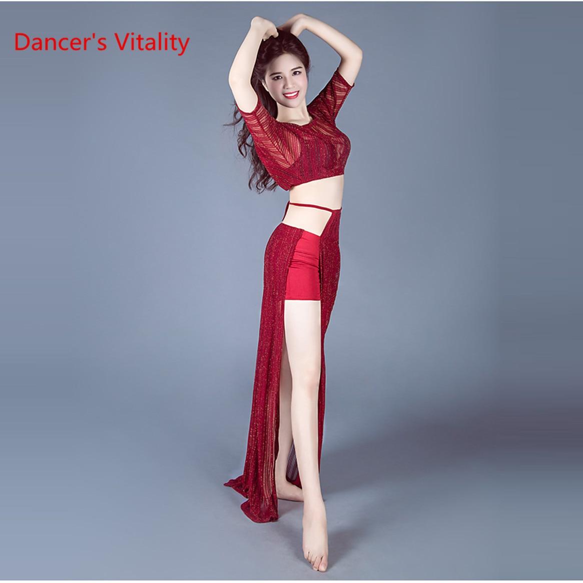 Big Size Lady's Loose Sexy Knitwear Professional Belly Dance 2 Piece Dancewear Long Sleeve Lateral Slit Women's Oriental Skirt