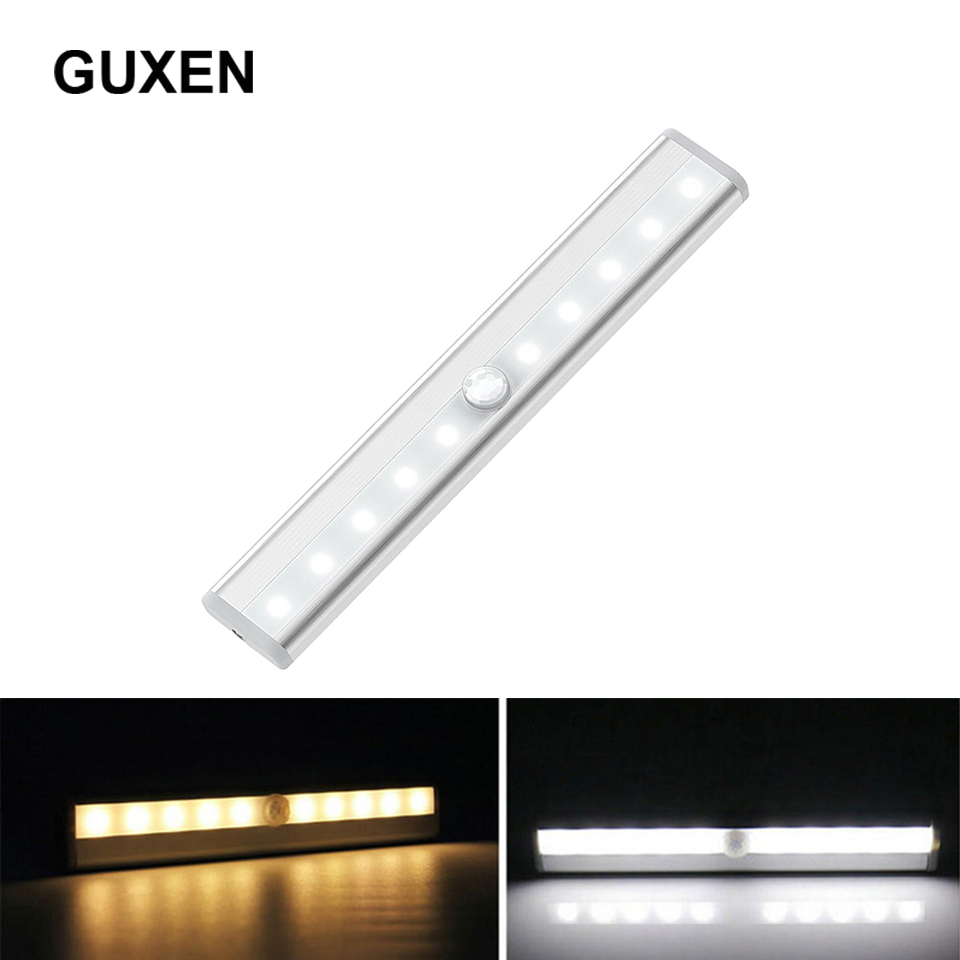 Guxen Motion Sensor Light Closet Light Under Cabinet Lightening Stick-on LED Wireless Wardrobe Light Battery Operated Nigh light цена